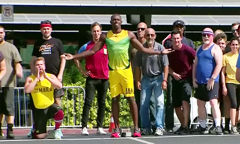 Bolt races James Corden and staff of Late Late Show